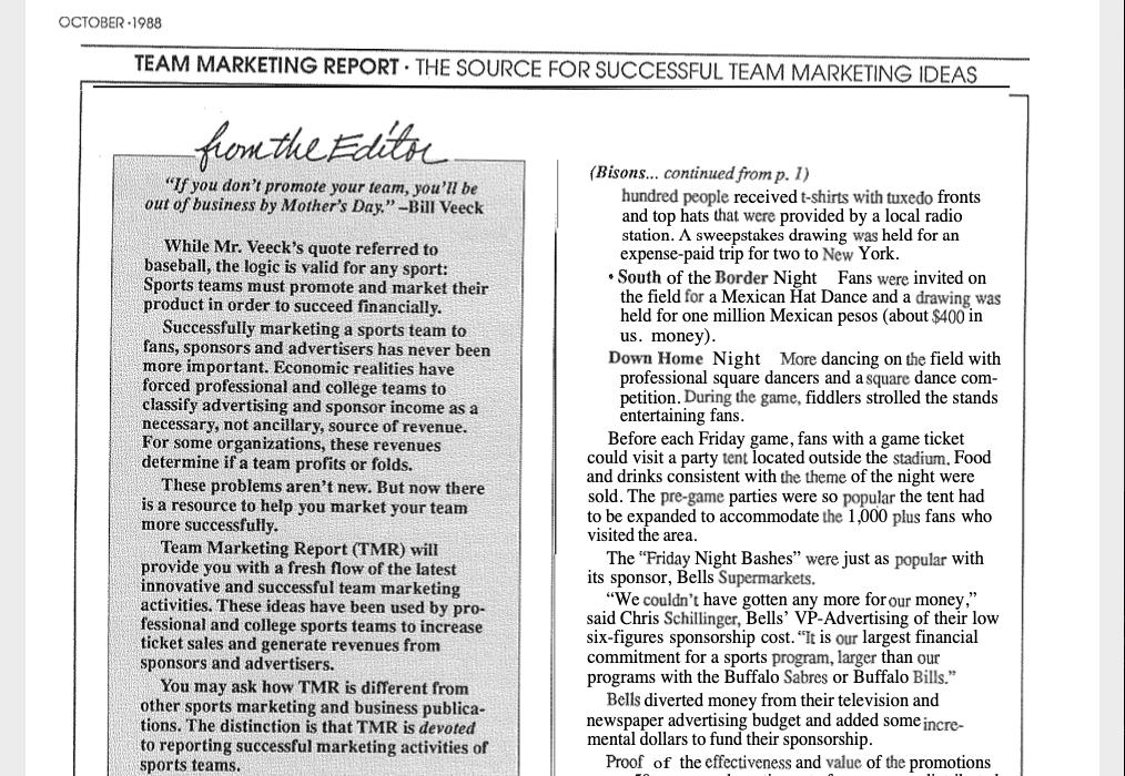 Team Marketing Report – Oct 1988 (Vol 01, Issue 01)