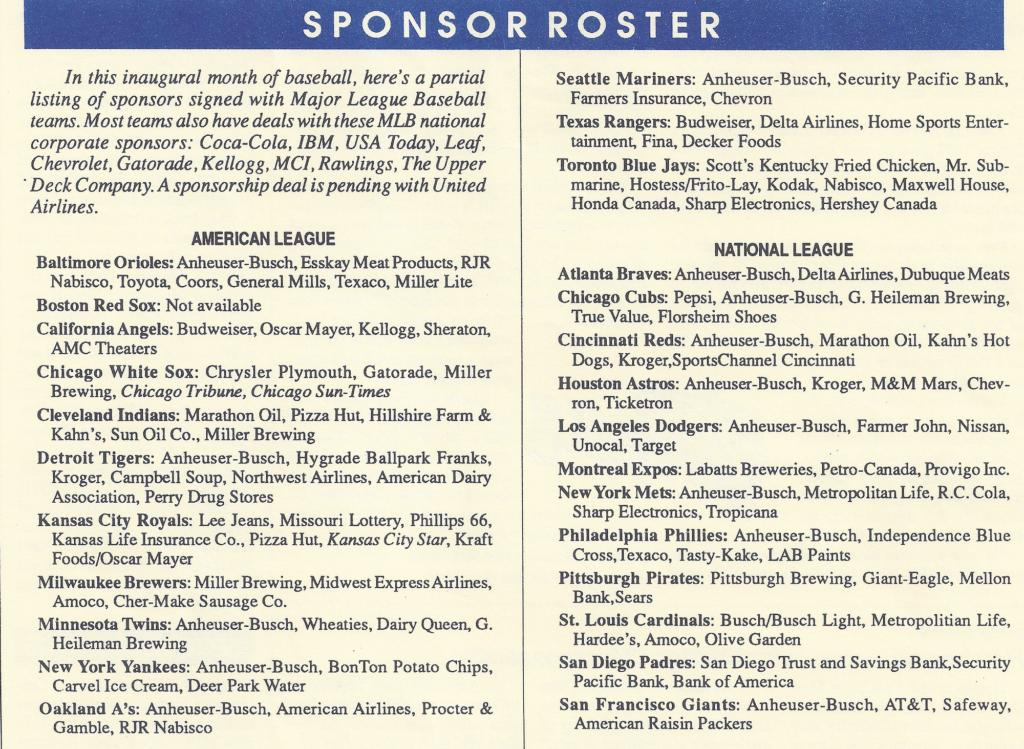 SPONSOR ROSTER - 1991 MLB teams