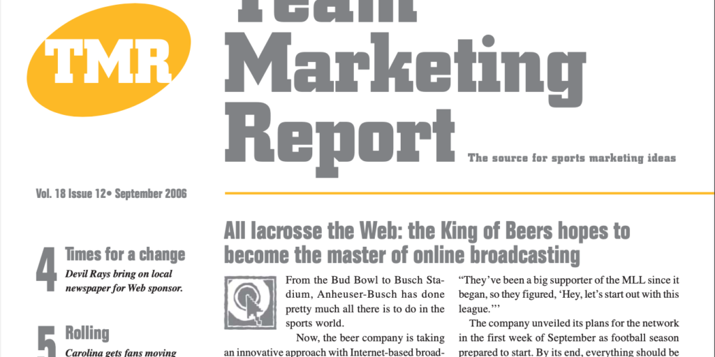 Team Marketing Report – Sep 2006 (Vol 18, Issue 12)