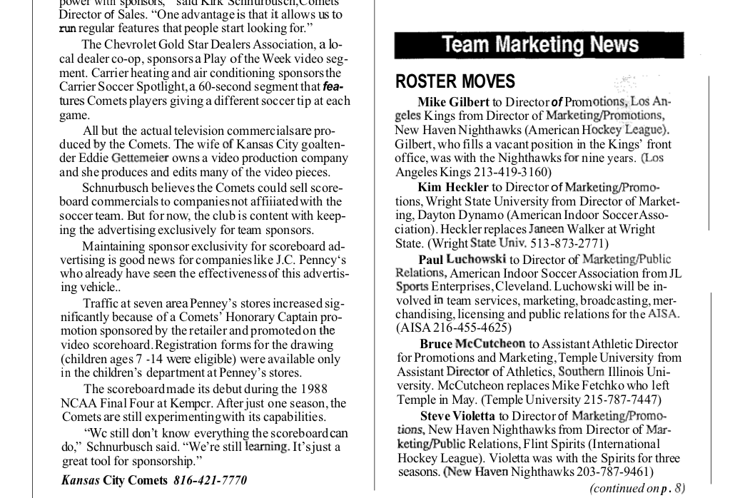 ROSTER MOVES (July 2019)